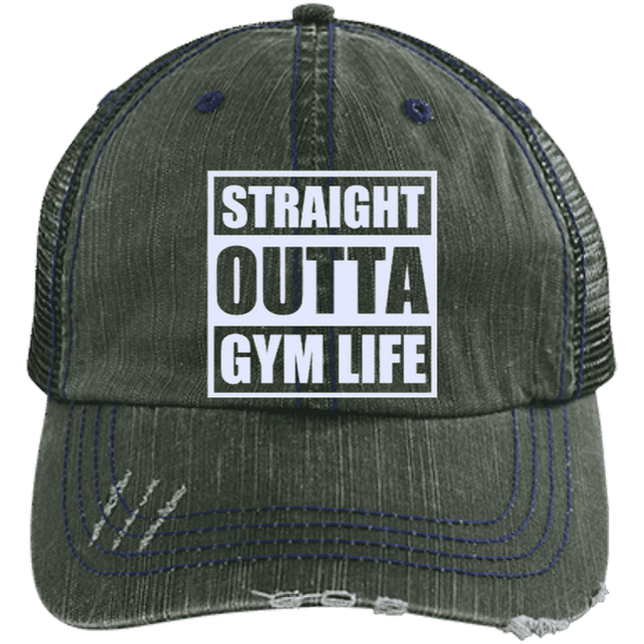 Straight Outta Gym Life Distressed Trucker Cap Apparel CustomCat