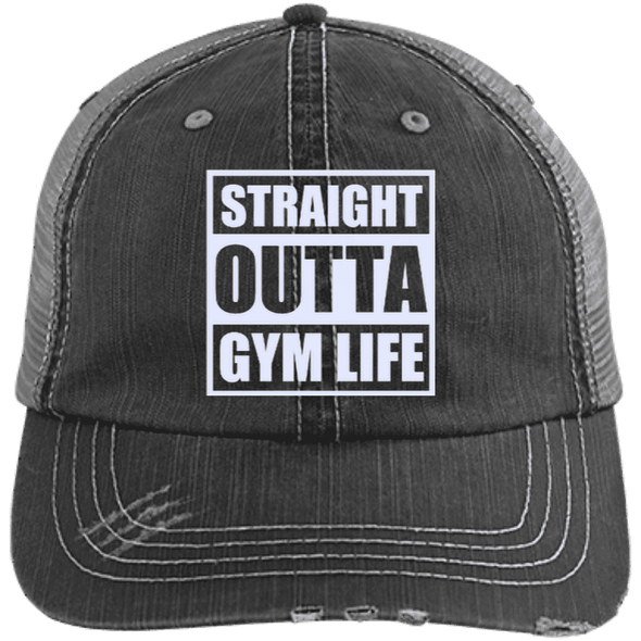 Straight Outta Gym Life Distressed Trucker Cap Apparel CustomCat 6990 Distressed Unstructured Trucker Cap Black/Grey One Size