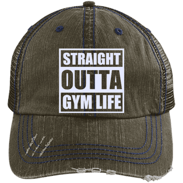 Straight Outta Gym Life Distressed Trucker Cap Apparel CustomCat 6990 Distressed Unstructured Trucker Cap Brown/Navy One Size