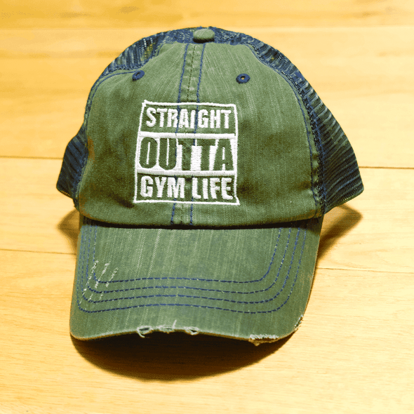 Straight Outta Gym Life Distressed Trucker Cap Apparel CustomCat 6990 Distressed Unstructured Trucker Cap Dark Green/Navy One Size