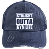 Straight Outta Gym Life Distressed Trucker Cap Apparel CustomCat 6990 Distressed Unstructured Trucker Cap Navy/Navy One Size