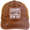 Straight Outta Gym Life Distressed Trucker Cap Apparel CustomCat 6990 Distressed Unstructured Trucker Cap Orange/Navy One Size