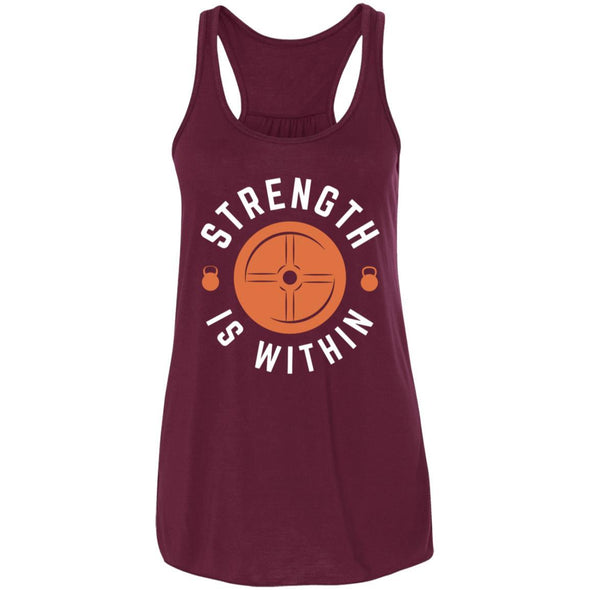 Strength is Within - Light Apparel CustomCat Racerback Tank Maroon S