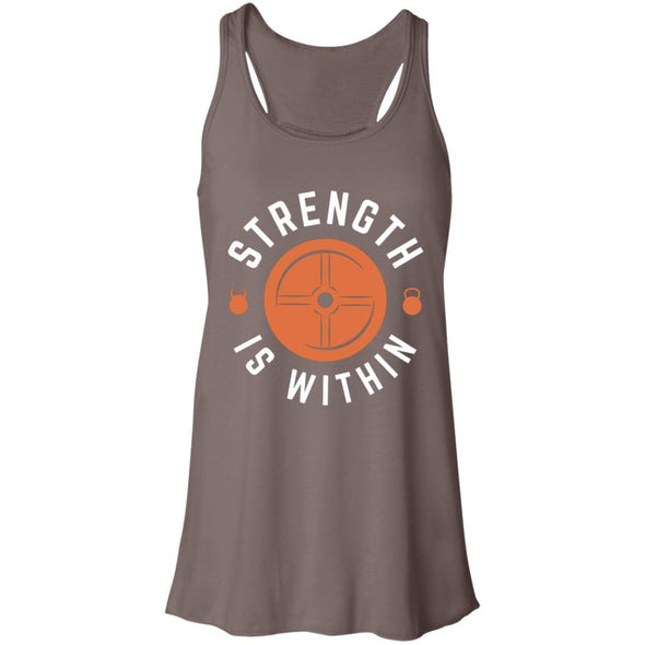 Strength is Within - Light Apparel CustomCat Racerback Tank Pebble Brown S