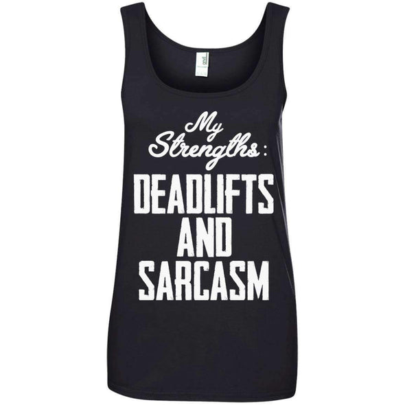 Strengths- DEADLIFTS & SARCASM T-Shirts CustomCat Black S