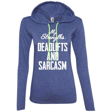 Strengths- DEADLIFTS & SARCASM T-Shirts CustomCat Heather Blue/Neon Yellow S