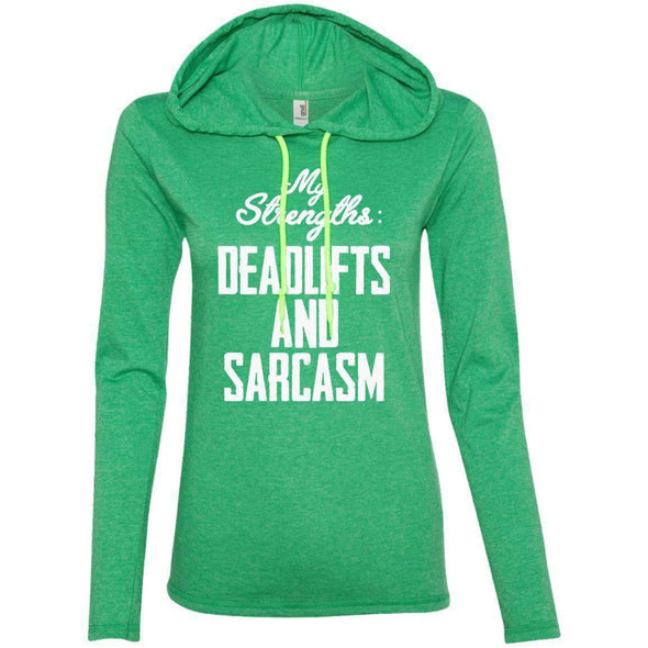 Strengths- DEADLIFTS & SARCASM T-Shirts CustomCat Heather Green/Neon Yellow S