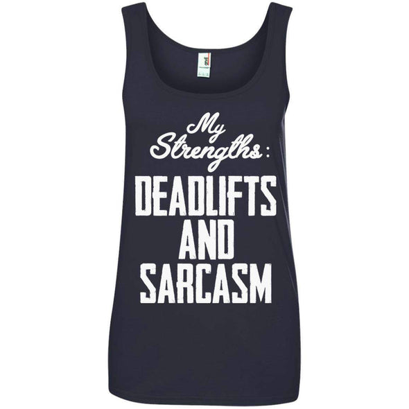 Strengths- DEADLIFTS & SARCASM T-Shirts CustomCat Navy S