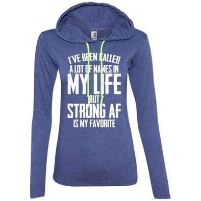 Strong AF is my Favorite T-Shirts CustomCat Heather Blue/Neon Yellow S