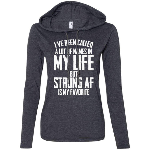 Strong AF is my Favorite T-Shirts CustomCat Heather Dark Grey/Dark Grey S