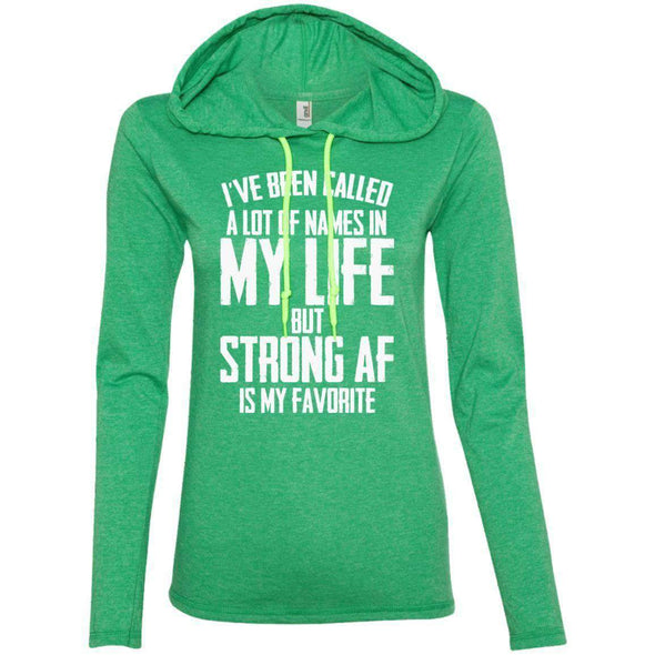 Strong AF is my Favorite T-Shirts CustomCat Heather Green/Neon Yellow S