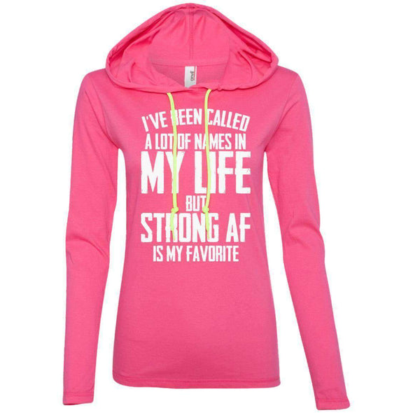 Strong AF is my Favorite T-Shirts CustomCat Hot Pink/Neon Yellow S