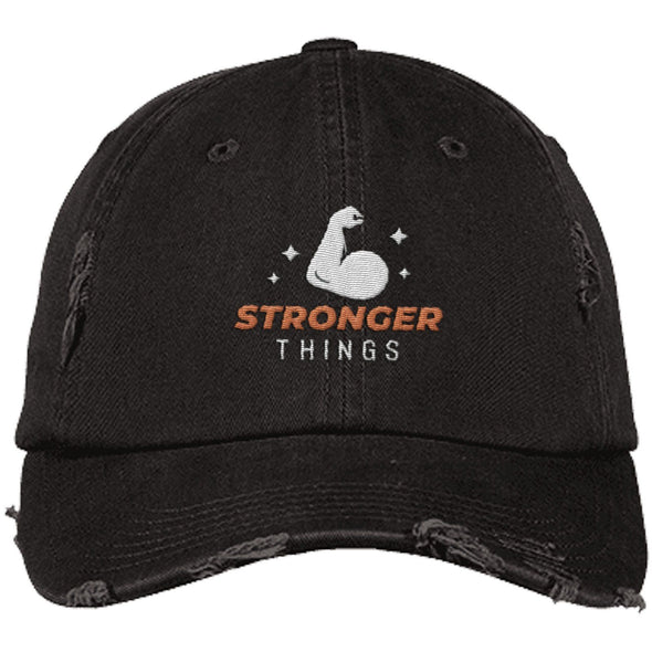 Stronger Things Cap Apparel CustomCat Distressed Dad Cap Black One Size