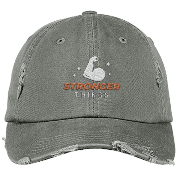 Stronger Things Cap Apparel CustomCat Distressed Dad Cap Light Olive One Size