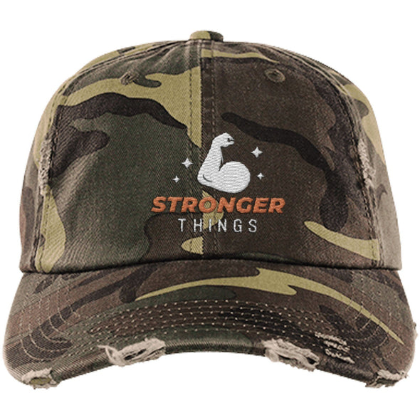 Stronger Things Cap Apparel CustomCat Distressed Dad Cap Military Camo One Size