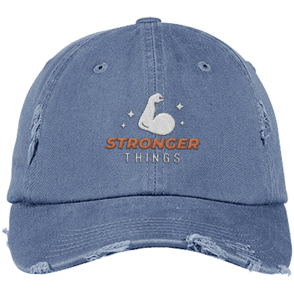 Stronger Things Cap Apparel CustomCat Distressed Dad Cap Scotland Blue One Size