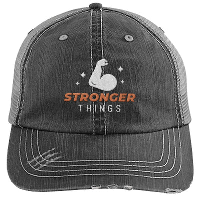 Stronger Things Cap Apparel CustomCat Distressed Trucker Cap Black/Grey One Size