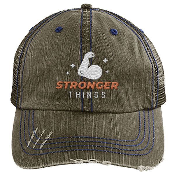 Stronger Things Cap Apparel CustomCat Distressed Trucker Cap Brown/Navy One Size
