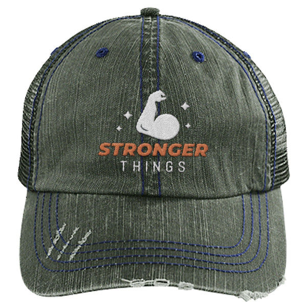 Stronger Things Cap Apparel CustomCat Distressed Trucker Cap Dark Green/Navy One Size