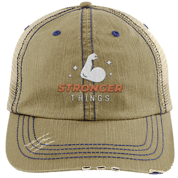 Stronger Things Cap Apparel CustomCat Distressed Trucker Cap Khaki/Navy One Size