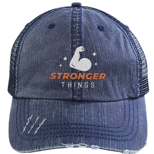 Stronger Things Cap Apparel CustomCat Distressed Trucker Cap Navy/Navy One Size