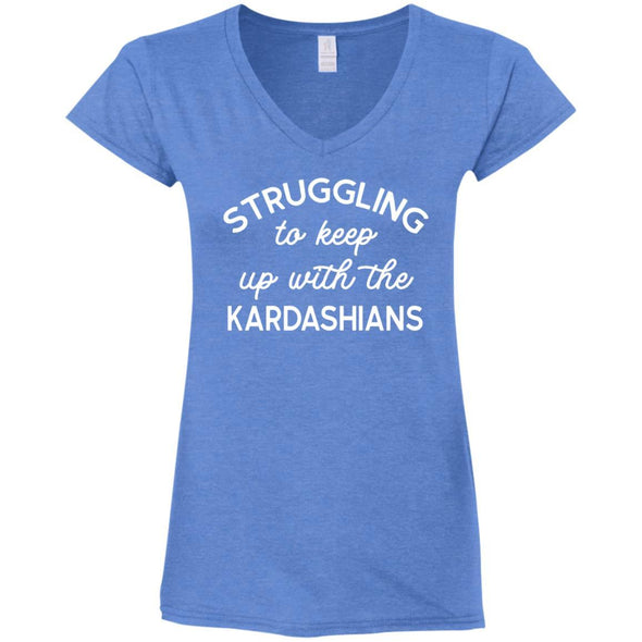 Struggling with the Kardahians T-Shirts Apparel CustomCat V-Neck T-Shirt Heather Royal S