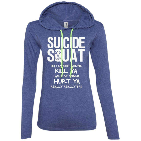 Suicide Squat T-Shirts CustomCat Heather Blue/Neon Yellow Small