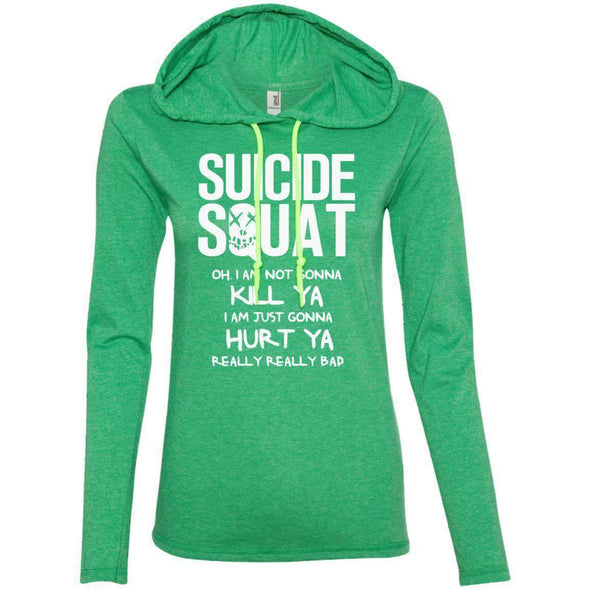 Suicide Squat T-Shirts CustomCat Heather Green/Neon Yellow Small