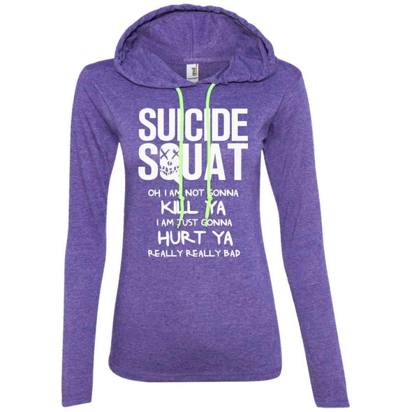 Suicide Squat T-Shirts CustomCat Heather Purple/Neon Yellow Small