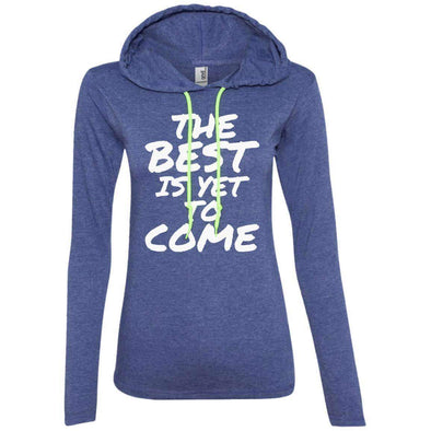 The Best is Yet to Come T-Shirts CustomCat Heather Blue/Neon Yellow S