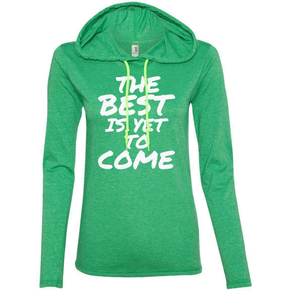 The Best is Yet to Come T-Shirts CustomCat Heather Green/Neon Yellow S