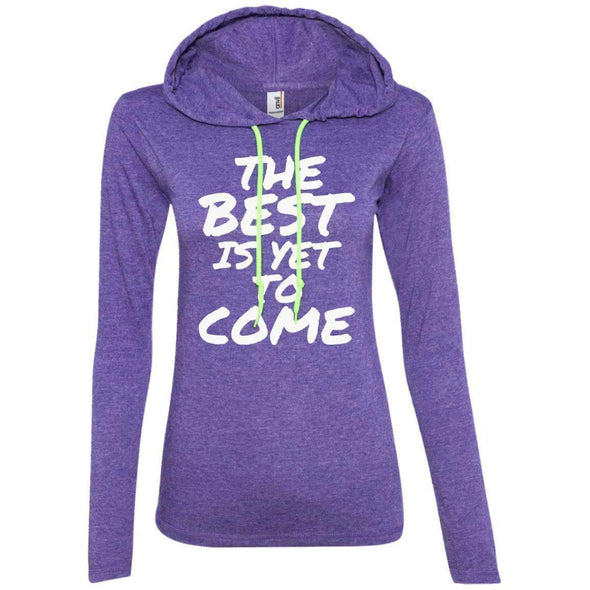The Best is Yet to Come T-Shirts CustomCat Heather Purple/Neon Yellow S