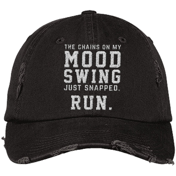 The Chains on my Mood Swing Just Snapped. Run Cap Apparel CustomCat Distressed Dad Cap Black One Size