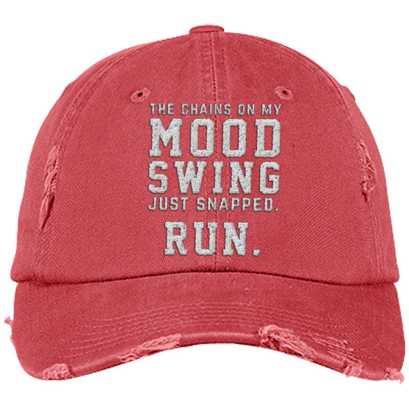 The Chains on my Mood Swing Just Snapped. Run Cap Apparel CustomCat Distressed Dad Cap Dashing Red One Size