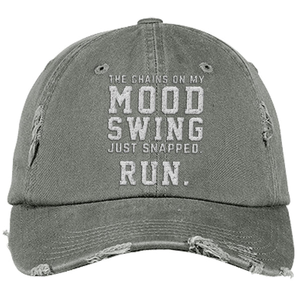 The Chains on my Mood Swing Just Snapped. Run Cap Apparel CustomCat Distressed Dad Cap Light Olive One Size