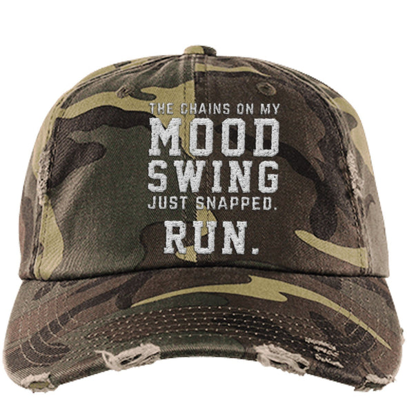 The Chains on my Mood Swing Just Snapped. Run Cap Apparel CustomCat Distressed Dad Cap Military Camo One Size