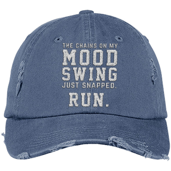 The Chains on my Mood Swing Just Snapped. Run Cap Apparel CustomCat Distressed Dad Cap Scotland Blue One Size