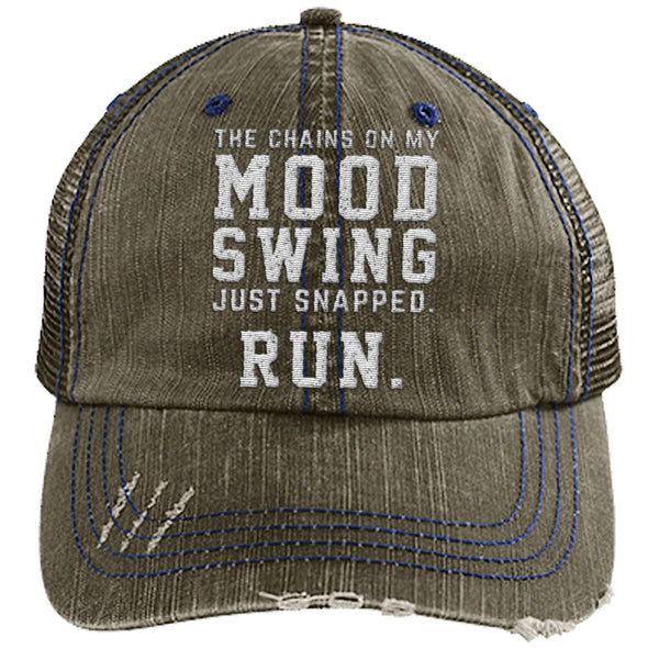 The Chains on my Mood Swing Just Snapped. Run Cap Apparel CustomCat Distressed Trucker Cap Brown/Navy One Size