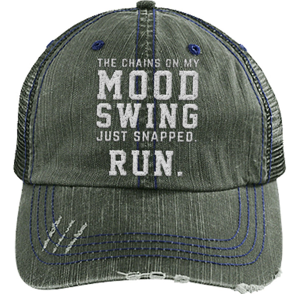 The Chains on my Mood Swing Just Snapped. Run Cap Apparel CustomCat Distressed Trucker Cap Dark Green/Navy One Size