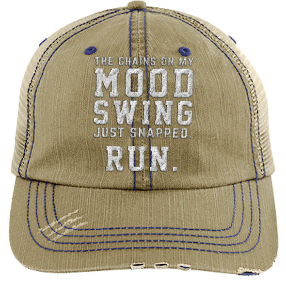 The Chains on my Mood Swing Just Snapped. Run Cap Apparel CustomCat Distressed Trucker Cap Khaki/Navy One Size