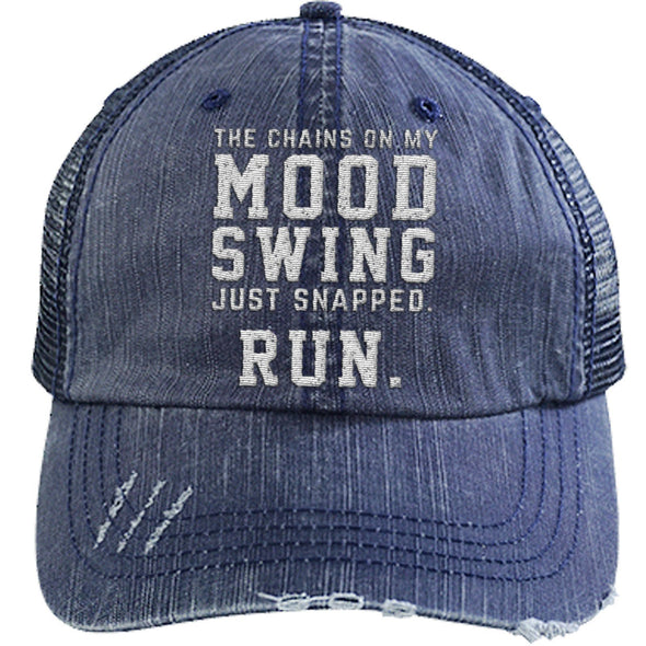 The Chains on my Mood Swing Just Snapped. Run Cap Apparel CustomCat Distressed Trucker Cap Navy/Navy One Size