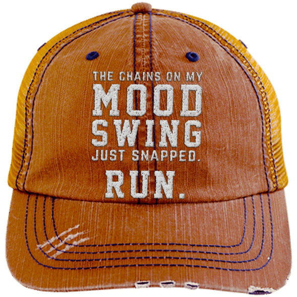The Chains on my Mood Swing Just Snapped. Run Cap Apparel CustomCat Distressed Trucker Cap Orange/Navy One Size