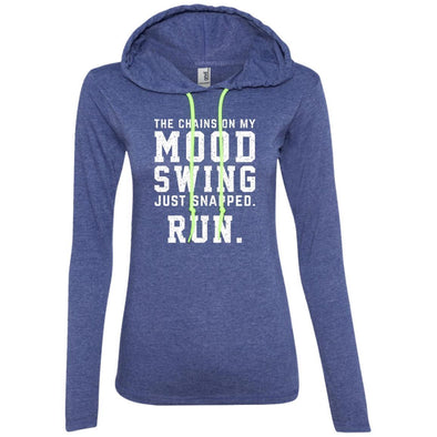The Chains On My Mood Swing Just Snapped. Run Hoodie T-Shirts CustomCat Heather Blue/Neon Yellow S