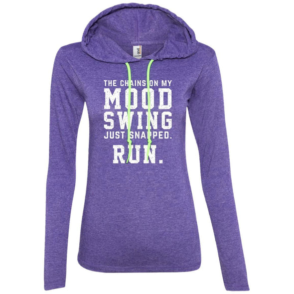 The Chains On My Mood Swing Just Snapped. Run Hoodie T-Shirts CustomCat Heather Purple/Neon Yellow S