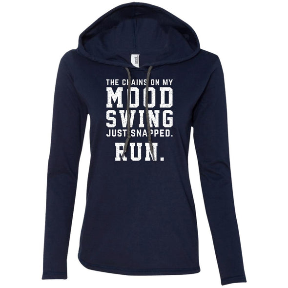 The Chains On My Mood Swing Just Snapped. Run Hoodie T-Shirts CustomCat Navy/Dark Grey S