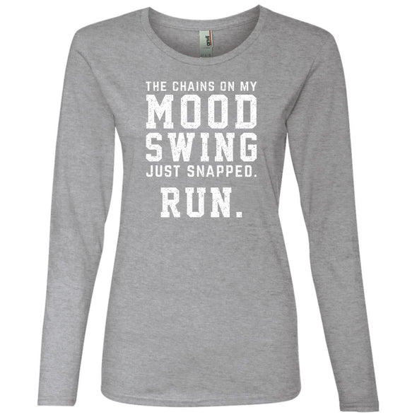 The Chains On My Mood Swing Just Snapped. Run Long Sleeve T-Shirts CustomCat Heather Grey S