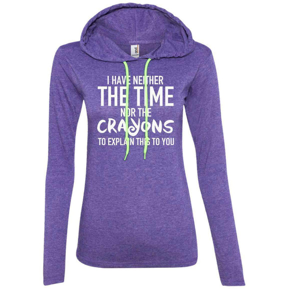 The Crayons to Explain T-Shirts CustomCat Heather Purple/Neon Yellow S
