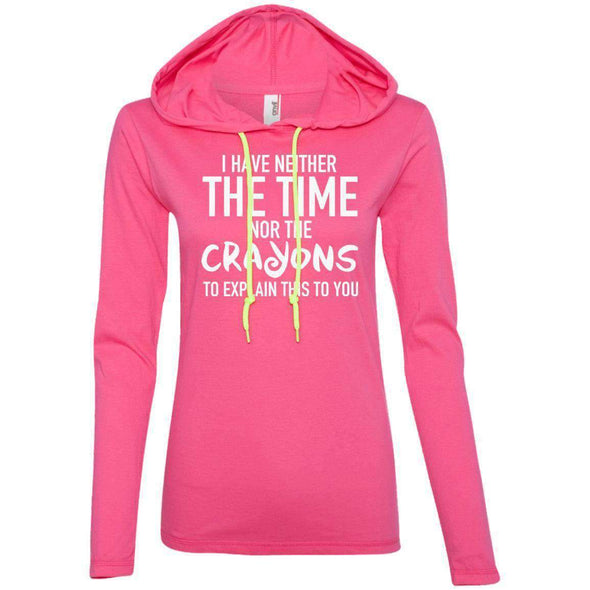 The Crayons to Explain T-Shirts CustomCat Hot Pink/Neon Yellow S