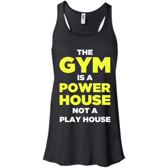 The Gym is a Power House Apparel CustomCat Bella + Canvas Flowy Racerback Tank Black X-Small