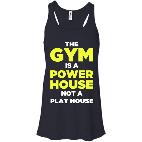The Gym is a Power House Apparel CustomCat Bella + Canvas Flowy Racerback Tank Midnight X-Small